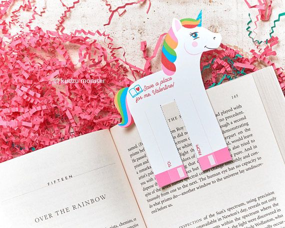 Unicorn Valentines Classroom Bookmark DIY Valentine's Day Printable Book Marks non candy gift for school