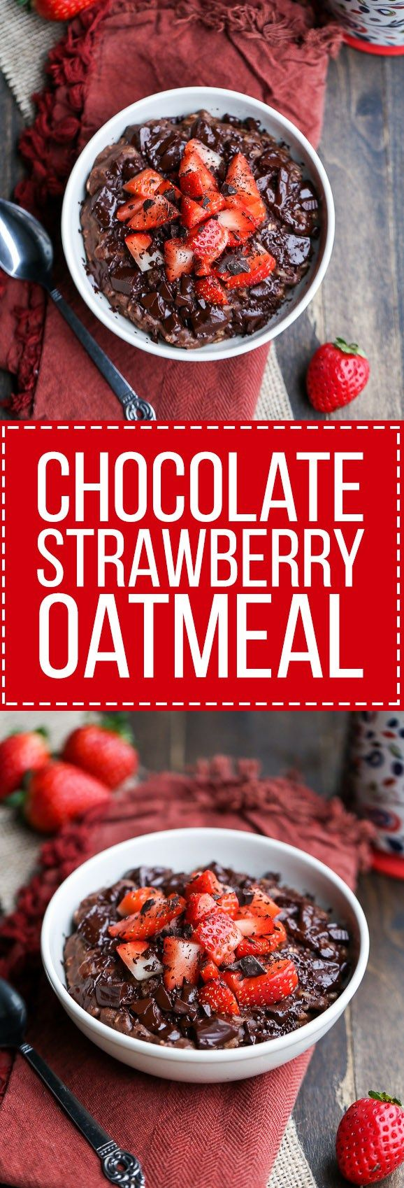 This Chocolate Strawberry Oatmeal tastes like dessert for breakfast! This oatmeal is sweetened with a banana and has cocoa powder and chocolate chips to make it super chocolatey. It's gluten-free, ref