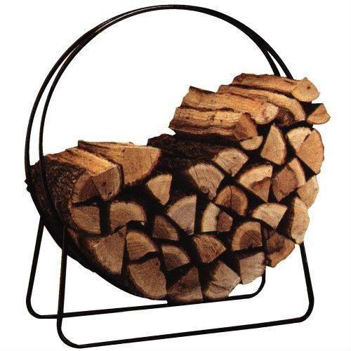 Round Circular 40-inch Steel Hoop Firewood Log Storage Rack-Outdoor > Firewood Racks-Loluxe