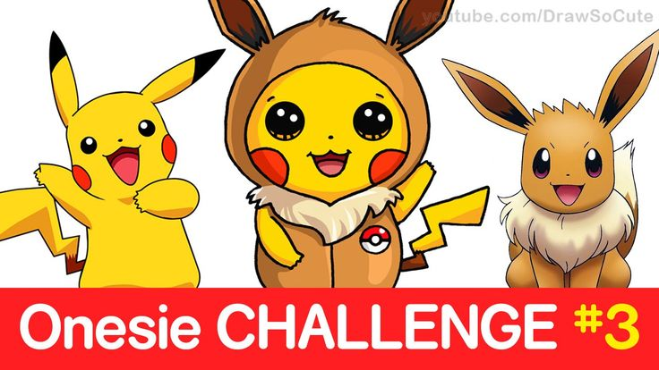 Pokemon CHALLENGE - How to Draw Pikachu in Eevee Onesie step by ...