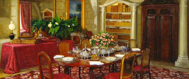 """SH Lee """"Dining Room with Bookcase"""" 8 x 18"""