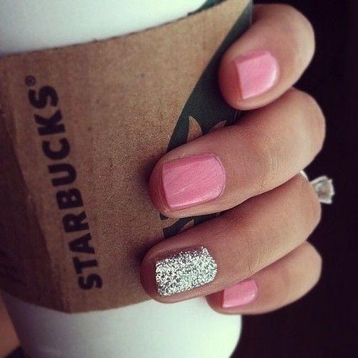 Classic pink + silver glitter