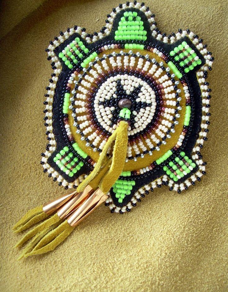 free native american beading patterns | Lakota Native American Beaded Turtle Magnet Beadwork Bead Work