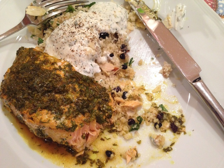 Herbed salmon, preserved lemon couscous & yoghurt. Marinate 2 salmon fillets in 3T oil, juice 1 lime, 1T chopped coriander, 1T chopped dill, 1T chopped parsley, 1/2t cumin, 1/2t cinnamon, 1/2t turmeric, 1/2t paprika for up to 2 hrs. Wrap in foil & bake @ 200C for 15-20mins. Prepare couscous & add 1/3 cup currants, 1 quarter of rinsed & finely chopped preserved lemon rind, 1/4 cup chopped mint. Top w toasted flaked almonds. Serve w yoghurt mixed with S, chopped mint, dill & parsley.