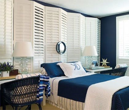 I like this idea for my room, but flat against the wall and not so high up. I'd also opt for wooden, not vinyl shutters.