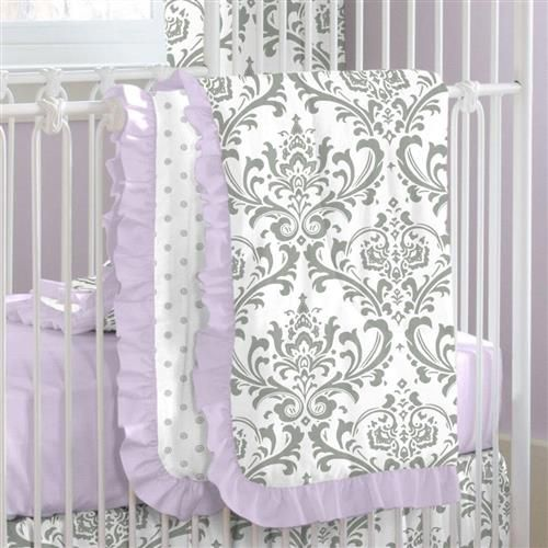 Lilac and Gray Traditions Damask Crib Bedding by Carousel Designs.