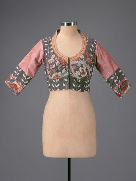 Grey-Pink Embroidered Hand-painted Kalamkari Cotton Blouse