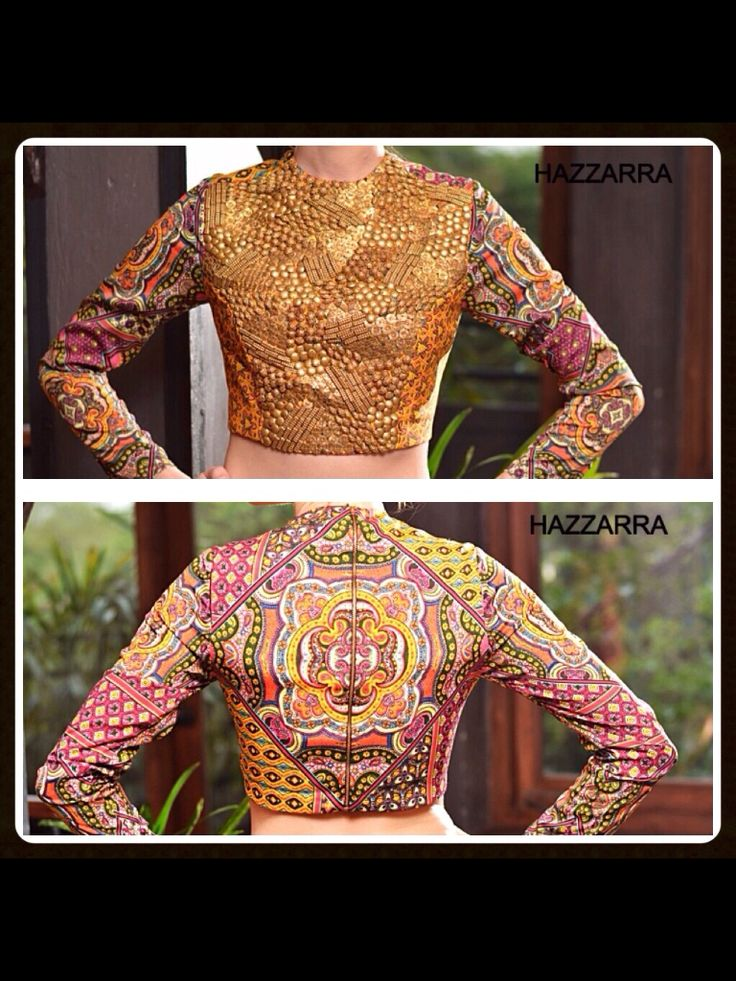 Printed crop top . Brass beads embroidery .