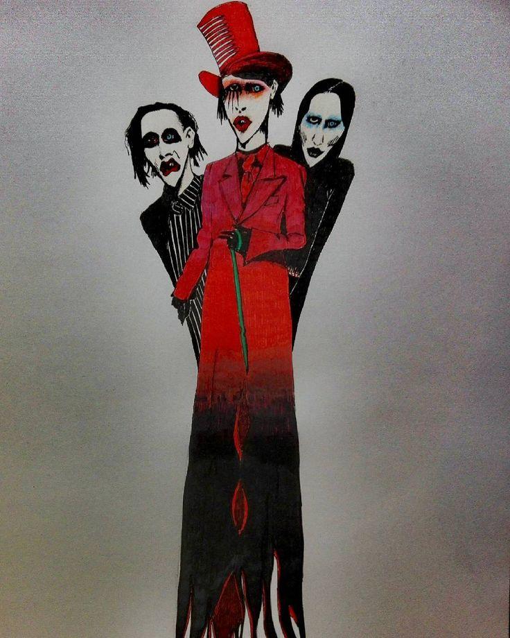 @reekie11 op Instagram: '#decoratie #tekening #pen #rood #forsale #driekoppig #monster #marilynmanson'