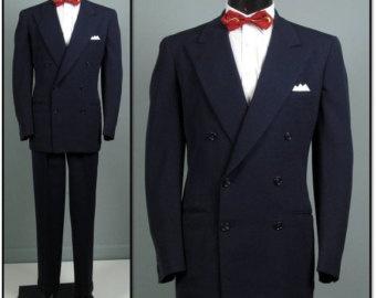Vintage Men's Suits 1940S | Vintage Mens Suit 1940s 1950s PENNE Y'S TOWN-CLAD Classic Navy Double ...