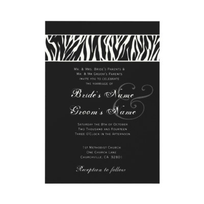 Elegant Black and White Zebra Wedding Invitation.  Wild! More zebra wedding ideas:  http://www.squidoo.com/leopard-zebra-wedding