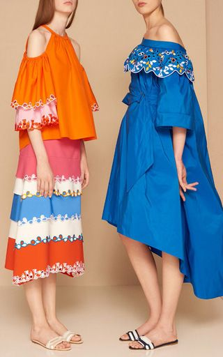 Taffeta Belted Off The Shoulder Dress by PETER PILOTTO for Preorder on Moda Operandi