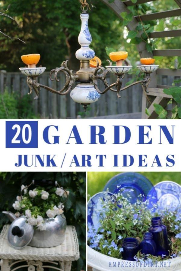 20 Garden Junk Ideas Hiding In Your Kitchen Garden Crafts Diy Garden Junk Creative Gardening
