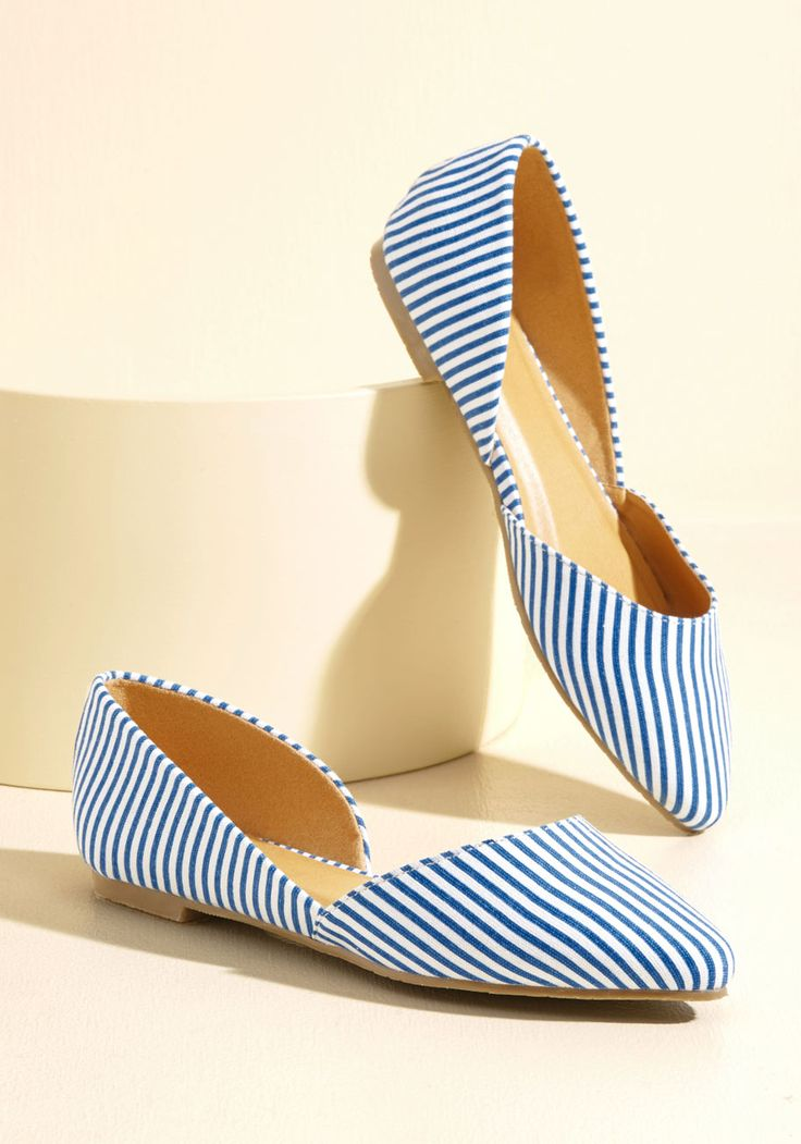 Step the Record Straight Vegan Flat in Stripes - Blue, White, Stripes, Work, Casual, Nautical, Winter, Flat, Good, Variation, Multi, Saturated