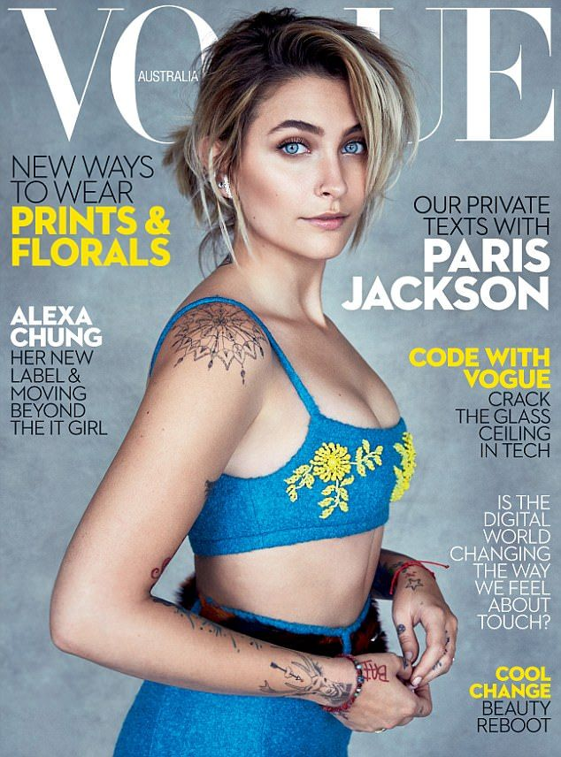 Cover girl! Paris Jackson flaunted her toned midriff in a blue crop top for the cover Vogue Australia magazine this month