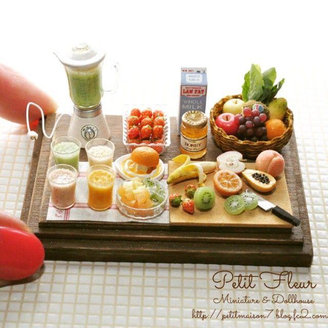 ミニチュア スムージーセット Miniature smoothie set #ミニチュア#ミニチュアフード#ドールハウス#ハンドメイド