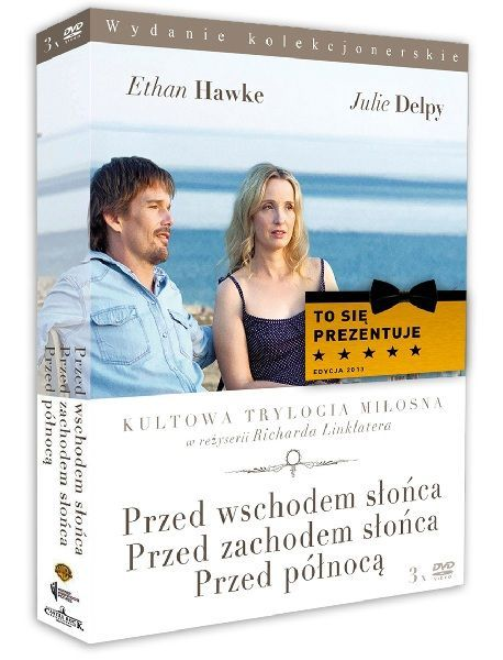 """Inteligentna, oparta na błyskotliwych dialogach i skrząca humorem romantyczna historia. Trzy filmy z Julie Delpy i Ethanem Hawke w rolach głównych, trzy etapy życia głównych bohaterów :) Pakiet: """"Przed Północą"""", """"Przed wschodem słońca"""" i """"Przed zachodem słońca"""" znajdziecie tylko w Empiku!"""