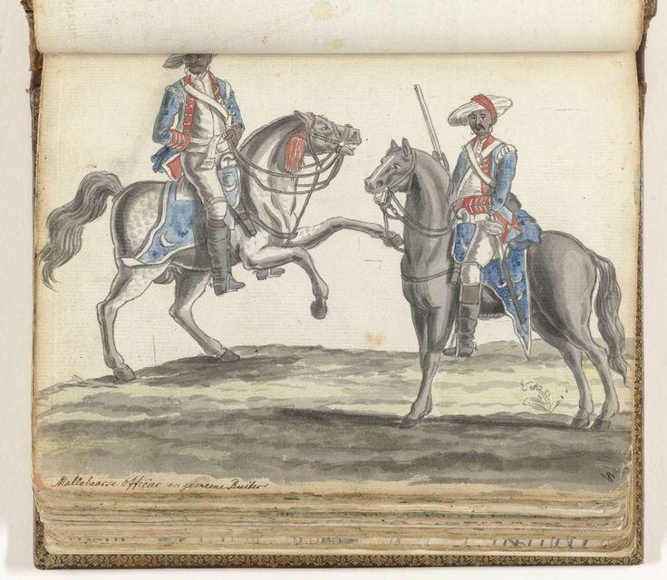 Jan Brandes   Mallabaarse officier en ruiter, Jan Brandes, 1779 - 1785   Kleurtekening van twee cavalaristen in VOC-dienst en van Indiase afkomst. Zij dragen tulbanden en blauwe jassen met rode delen. De paarden dragen blauwe schabrakken met maansikkels. Met opschrift. Onderdeel uit het schetsboek van Jan Brandes, dl. 2 (1808), p. 69.