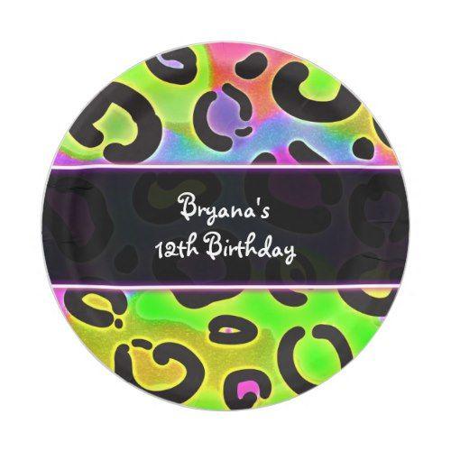 Rainbow Cheetah Leopard Birthday Party Plates
