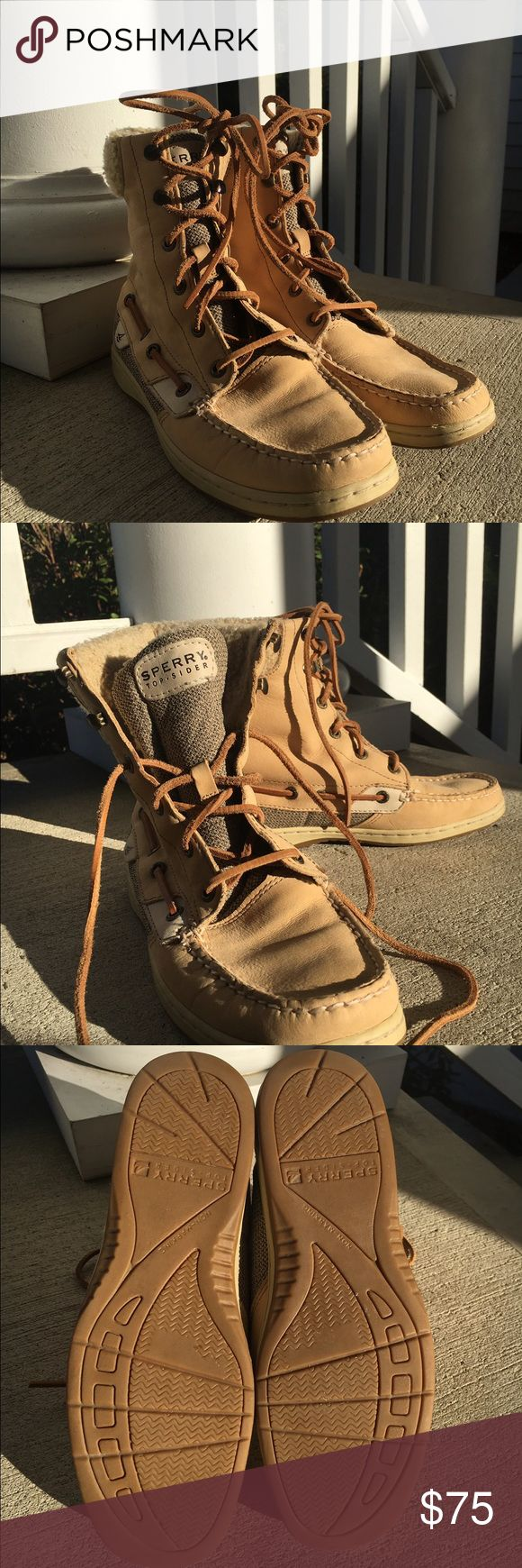 Sperry Top Sider Boots 7.5 Tan leather Sperry Top-Sider boots worn only a few times! Excellent condition soft leather. Size 7.5 Sperry Top-Sider Shoes Lace Up Boots