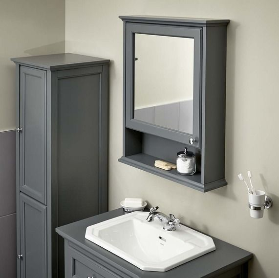 Grey bathroom mirror cabinet z shaped screwdriver