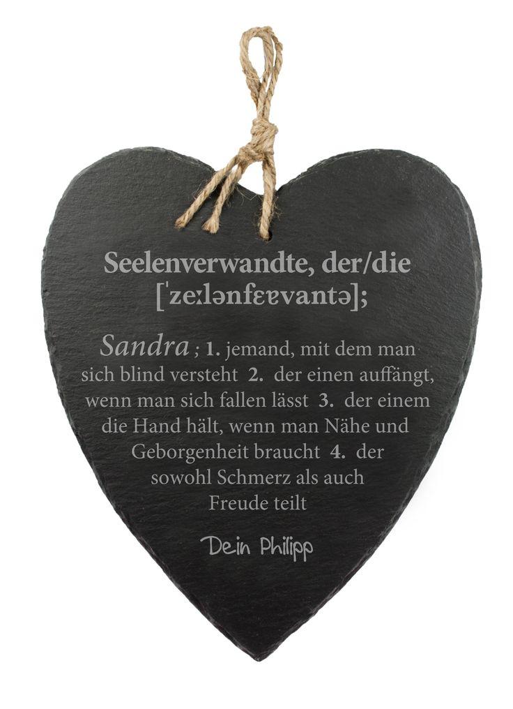 Schieferherz Mit Gravur   Definition Seelenverwandte. Valentinstag  GeschenkGeschenke