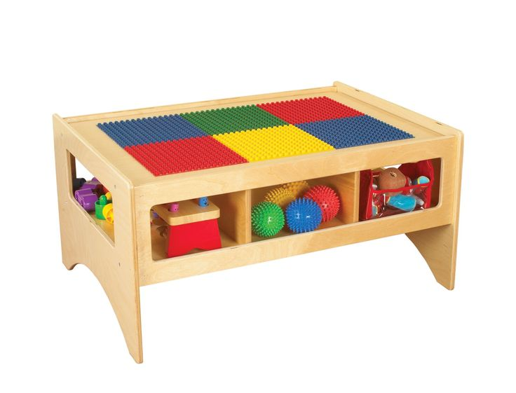 Childcraft Toddler Multi Purpose Play Table With Building Block Top, 36 W X  26