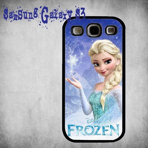 Disney Frozen Elsa Print On Hard Plastic Samsung Galaxy S3, Black Case