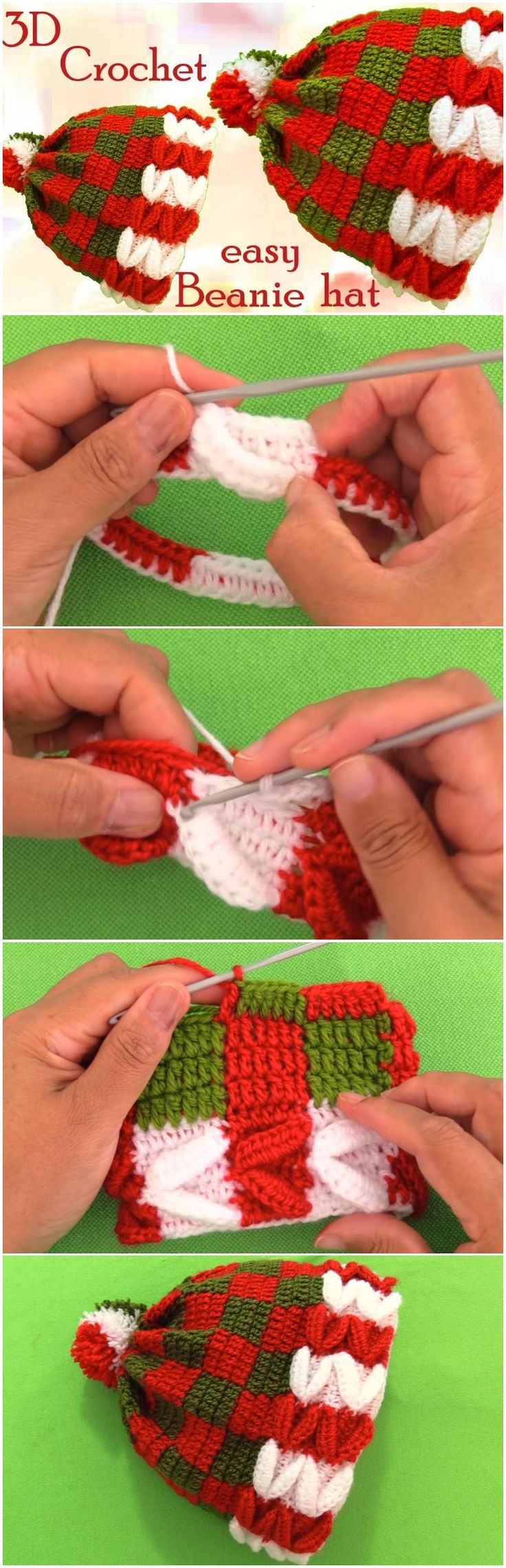 Crochet Christmas 3D Beanie Hat