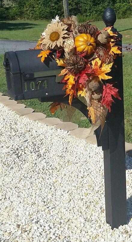 Fall mailbox swag