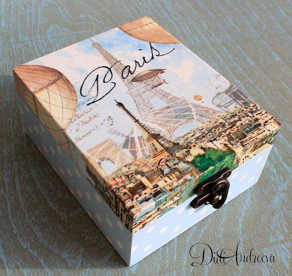 Wooden jewelry box Elegant gift . decoupage box shabby por ArtDidi