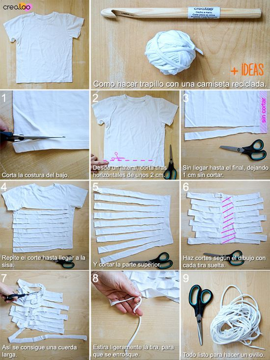 Diy, ideas, tutoriales... para hacer con Trapillo | Jewelry | Pinterest | Crochet, T shirt yarn and Knitting