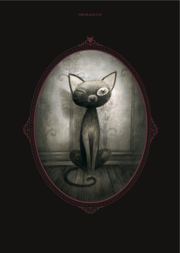 """""""El gato negro"""", de Edgar Allan Poe. Ilustración de Benjamin Lacombe para este…"""