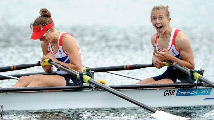 Sophie Hosking and Katherine Copeland of Great Britain celebrate winning gold