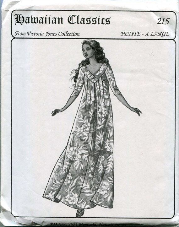 Victoria Jones Collection Hawaiian Classics Sewing Pattern 215 Petite-X-Large Muumuu Uncut. $6.00, via Etsy.