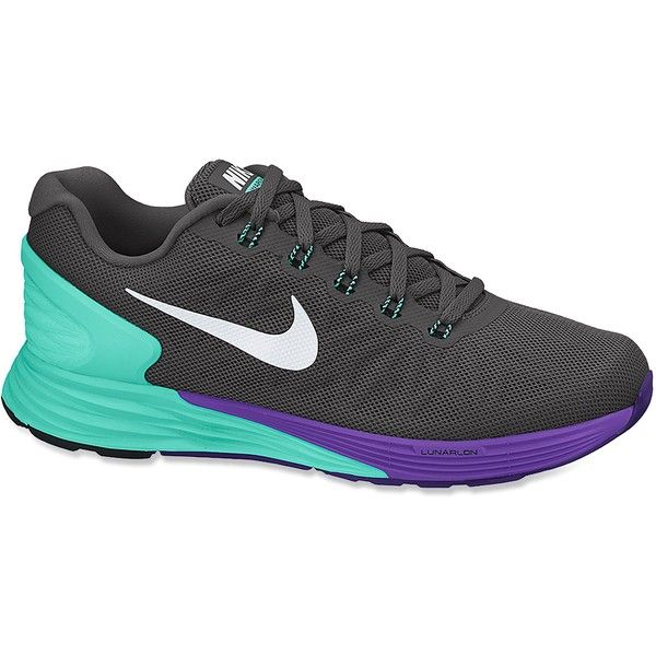 Nike Lunarglide 6 Road-Running Shoes ($110) ❤ liked on Polyvore featuring shoes, athletic shoes, nike, sneakers, tennis shoes, nike shoes, running shoes and nike footwear