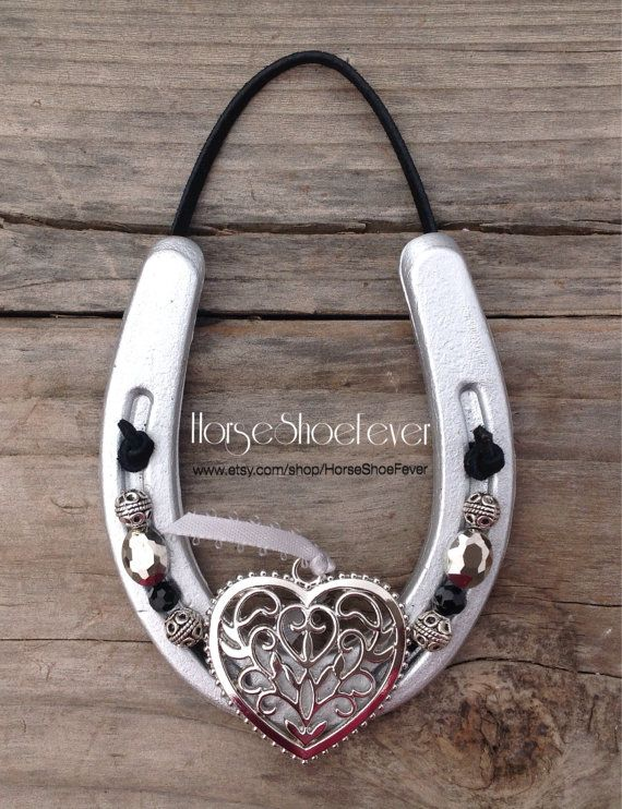 Silver Pony Horseshoe with Heart Pendant. by HorseShoeFever