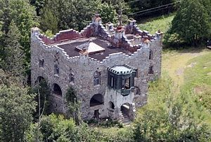 Kimball Castle Gilford, New Hampshire - Benjamin Ames Kimball finished his castle in 1899 and died in 1919. In more recent times, the castle, now in disrepair, was put up for sale and Locke's Hill Nature Preserve was created on the land, with hiking and skiing trails. In the 1960s and 1970s vandals stole every piece of tapestry, furniture and artwork and ripped the gates off their supports. Even the oak banisters and dragon gargoyles on the castle parapets were stolen. Now, apparitions, cold…