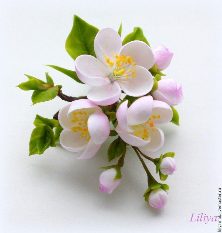 """Купить Брошь """"Яблоневый цвет"""" - брошь с цветами, брошь ручной работы, подарок на 8 марта"""