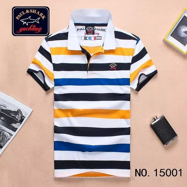 Paul Shark Striped Polo Shirts Short Sleeved Navy Blue Yellow White