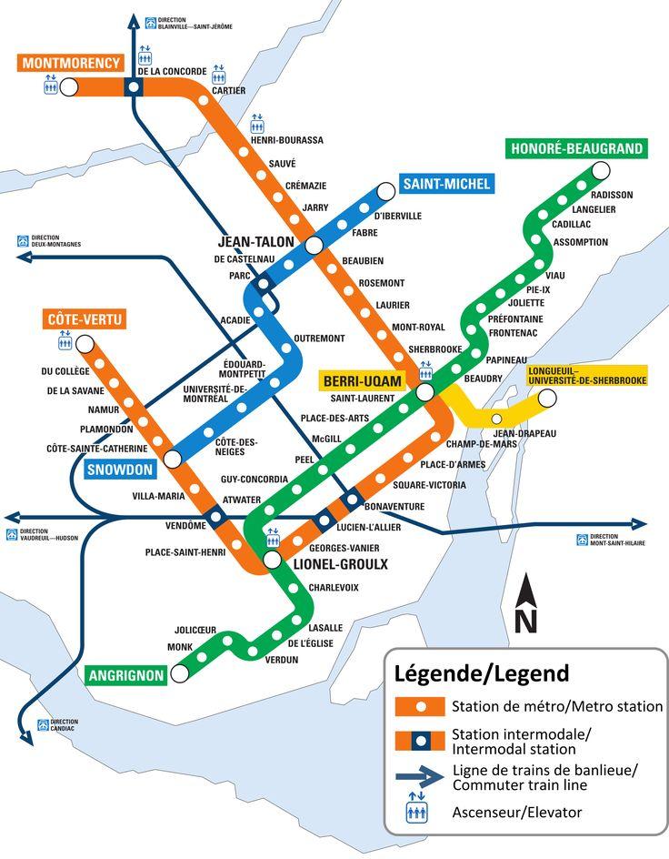 Mapa do metrô de Montreal, Canadá Montreal, a maior cidade da província de Quebec, no Canadá, está localizada na ilha de mesmo nome no Rio São Lourenço e Rio Prairies. Como parte do sistema de transporte público da cidade, há um sistema de metrô subterrâneo que usa a tecnologia de pneus de borracha; o primeiro no mundo a trabalhar inteiramente em pneus de borracha em vez de rodas de aço.