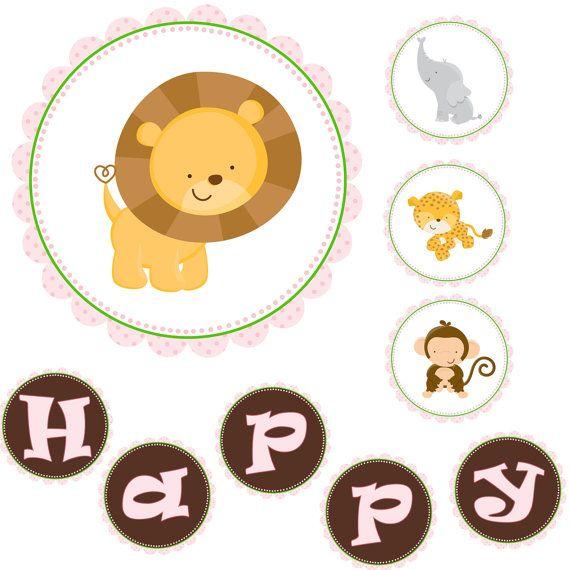 INSTANT DOWNLOAD Happy Birthday Banner - Jungle Banner Monkey Lion Leopard Elephant Animals Banner Birthday Decorations Birthday Favors