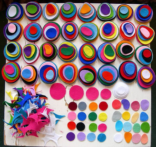 Kandinsky paper circles glued, or paint chips