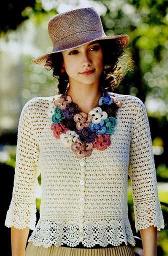 crochet, this would look good on a sweatshirt jacket