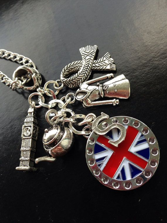 """Sherlock charm necklace from Etsy """"arts and crafts"""" website.  Charms include Sherlock's scarf; his coat; Big Ben; and more."""