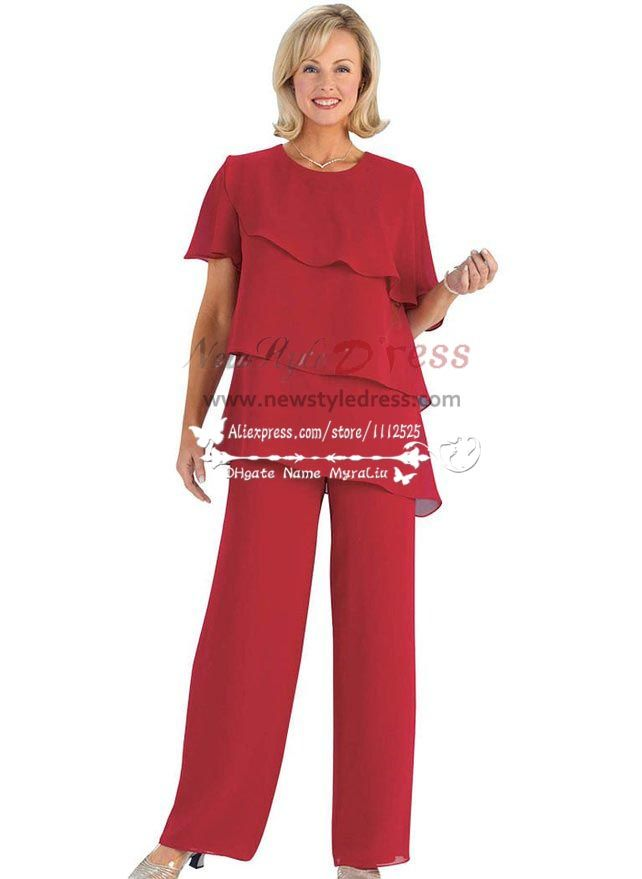 Plus Size Red Chiffon Mother Of The Birde Pant Suits