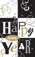 TISCHDECKE HAPPY NEW YEAR 137x259cm gold silber sw Einweg Silvester Tischdeko