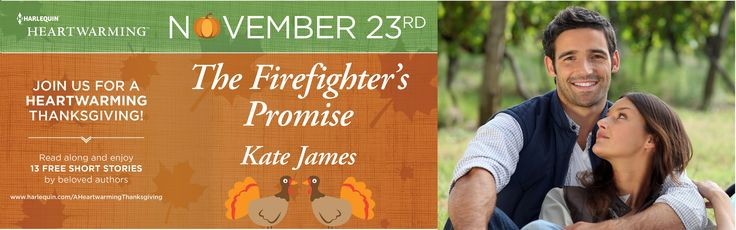 IT'S MY TURN TODAY!  The Firefighter's Promise is today's FREE online read: http://www.harlequin.com/articlepage.html?articleId=2071&chapter=1  Please leave a comment & let me know how you enjoyed it!  Today's blog stops:  http://canadianbookaddict.blogspot.ca/ http://www.melsshelves.blogspot.com http://beckvalleybooks.blogspot.com  Join the discussiont: http://community.harlequin.com/showthread.php/6313-Featured-Read-The-Firefighter-s-Promise-by-Kate-James-A-Heartwarming-Thanksgiving