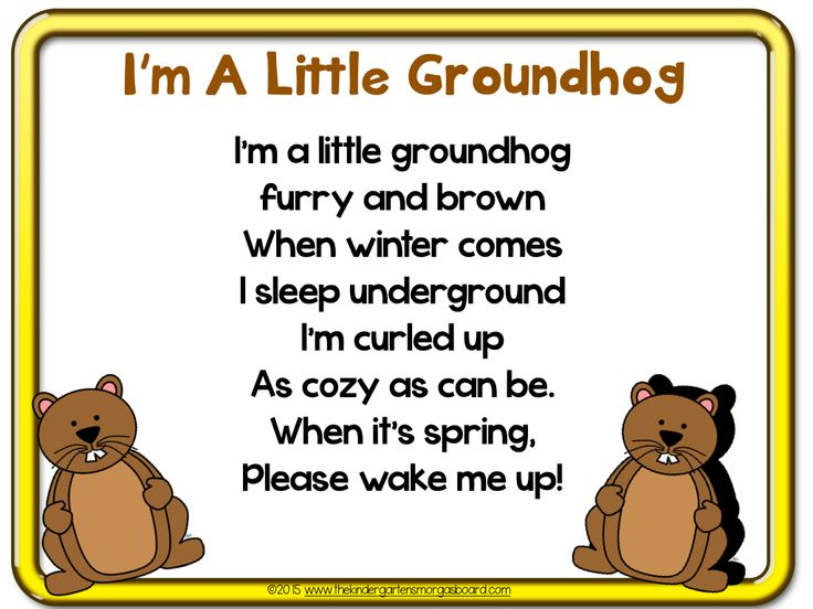 Groundhog day poem!  Poems are great for building fluency!