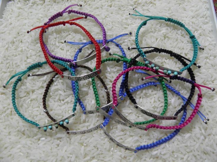 Sterling silver, makrame bracelets
